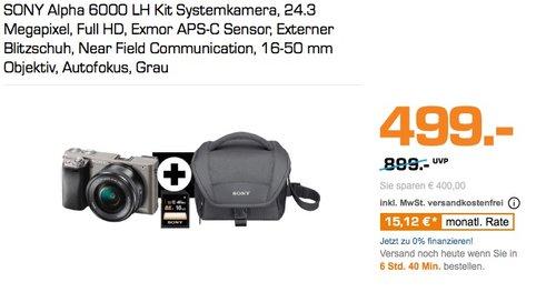 "Sony Alpha 6000 Systemkamera (24 Megapixel, 7,6 cm (3"") LCD-Display, Exmor APS-C Sensor) inkl. SEL-P1650 Objektiv - jetzt 11% billiger"