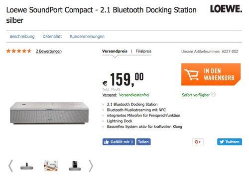 Loewe SoundPort Compact - 2.1 Bluetooth Docking Station (2.1 mit Bassreflex, Bluetooth, Lightning Dock, 3,5 mm Klinke) - jetzt 41% billiger