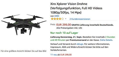 Xiro Xplorer Vision Drohne (Verfolgungsfunktion, Full HD Videos 1080p/30fps, 14 Mpx) - jetzt 29% billiger