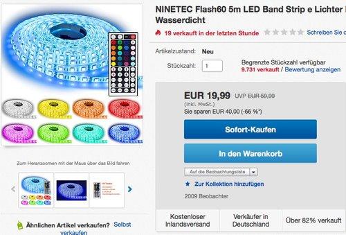 NINETEC Flash60 5m 5050 RGB SMD LED Strip Leiste Streifen 60 LED pro Meter - jetzt 29% billiger