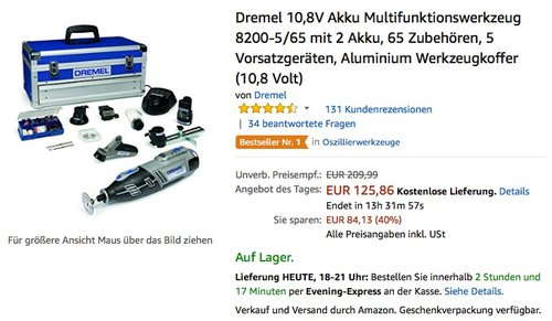 Dremel 10,8V Akku Multifunktionswerkzeug 8200-5/65 mit 2 Akku, 65 Zubehören - jetzt 20% billiger