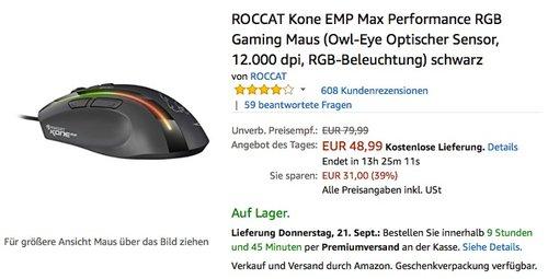 ROCCAT Kone EMP Max Performance RGB Gaming Maus (Owl-Eye Optischer Sensor, 12.000 dpi, RGB-Beleuchtung) schwarz - jetzt 36% billiger