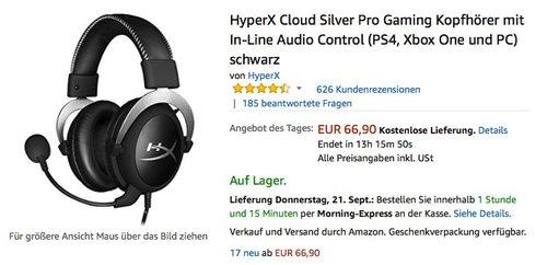 HyperX Cloud Silver Pro Gaming Kopfhörer mit In-Line Audio Control (PS4, Xbox One und PC) schwarz - jetzt 12% billiger