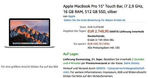 "Apple MacBook Pro 15"" Touch Bar, i7 2,9 GHz, 16 GB RAM, 512 GB SSD, silber - jetzt 2% billiger"