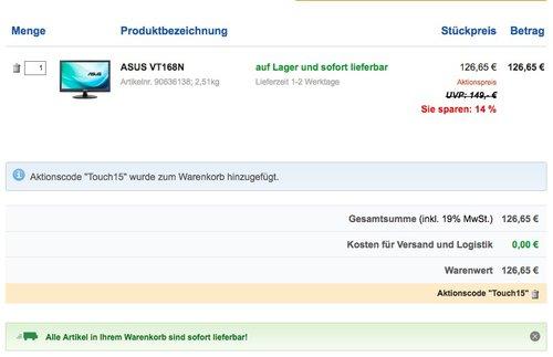 Asus VT168N 39,6 cm (15,6 Zoll) Monitor (VGA, DVI, 10ms Reaktionszeit, Touch) schwarz - jetzt 13% billiger