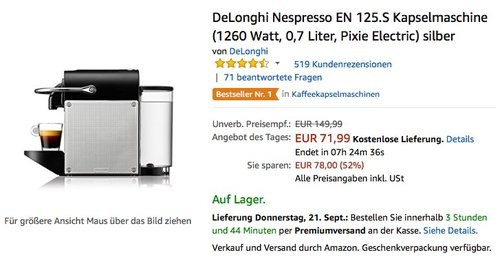 DeLonghi Nespresso EN 125.S Kapselmaschine (1260 Watt, 0,7 Liter, Pixie Electric) silber - jetzt 15% billiger