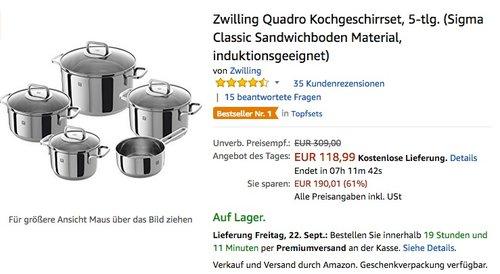 Zwilling Quadro Kochgeschirrset, 5-tlg. (Sigma Classic Sandwichboden Material, induktionsgeeignet)  - jetzt 46% billiger