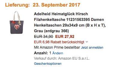 Adelheid Heimatglück Hirsch Filzhenkeltasche  - jetzt 20% billiger