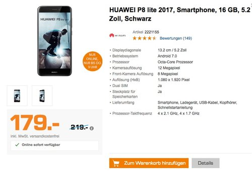 Huawei P8 Lite 2017 Smartphone (13.2 cm (5.2 Zoll) Full-HD Touchscreen, 16 GB, Android 7.0)  - jetzt 10% billiger