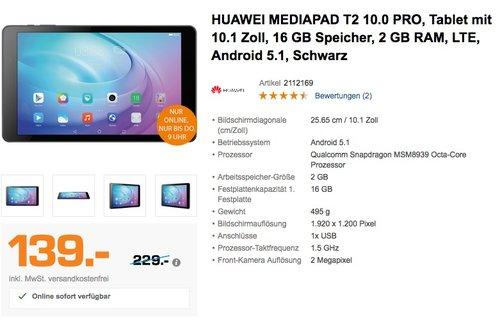 Huawei MediaPad T2 10.0 Pro 25,7 cm (10,1 Zoll) IPS Tablet PC , 2GB RAM, 16GB HDD - jetzt 15% billiger