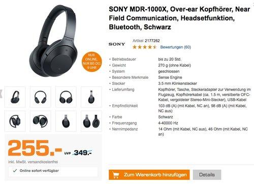 Sony MDR-1000X kabelloser High-Resolution Kopfhörer (Noise Cancelling, Sense Engine, NFC, Bluetooth, bis zu 20 Stunden Akkulaufzeit) schwarz - jetzt 5% billiger