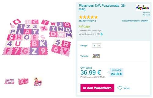 Playshoes 308746 - Puzzleteppich Zahlen, pastell, 36 teilig - jetzt 16% billiger
