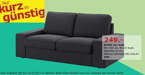 IKEA KIVIK 2er-Sofa, 95x190 cm, 83 cm hoch - jetzt 45% billiger