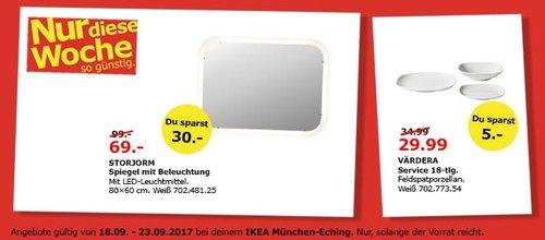 IKEA STORJORM Spiegel mit Beleuchtung, 80x60 cm, weiß - jetzt 30% billiger