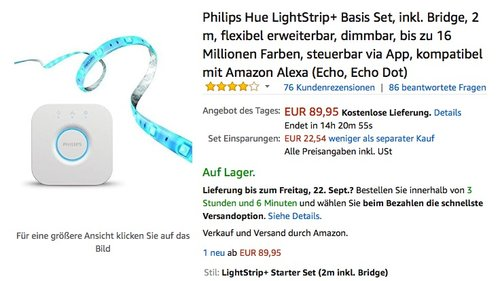 Philips Hue LightStrip+ Basis Set, inkl. Bridge, 2 m - jetzt 24% billiger