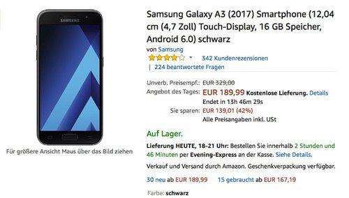 Samsung Galaxy A3 (2017) Smartphone (12,04 cm (4,7 Zoll) Touch-Display, 16 GB Speicher, Android 6.0) schwarz - jetzt 13% billiger