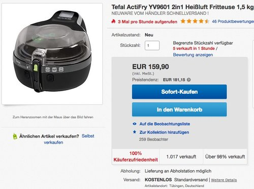 Tefal ActiFry YV960130 2in1 Heißluft-Fritteuse  - jetzt 6% billiger