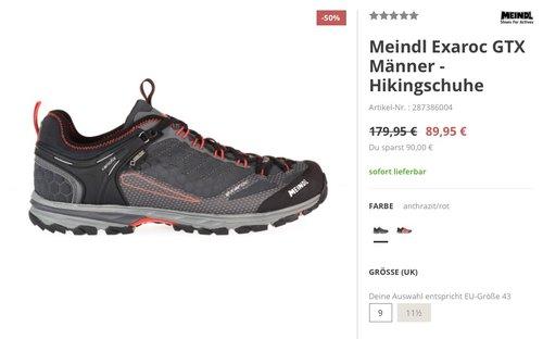 Meindl Exaroc GTX Männer - Hikingschuhe anthrazit/rot - jetzt 34% billiger