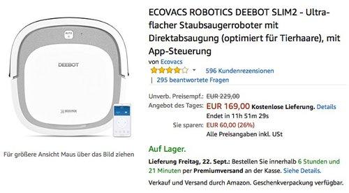 Ecovacs Robotics Deebot Slim2 Staubsauger-Roboter - jetzt 26% billiger