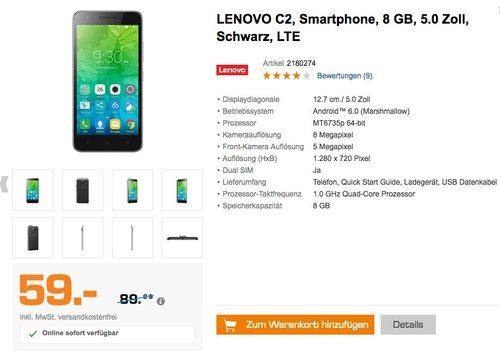 Lenovo C2 Smartphone (12,7 cm (5 Zoll), 8 GB, Android) Schwarz - jetzt 30% billiger