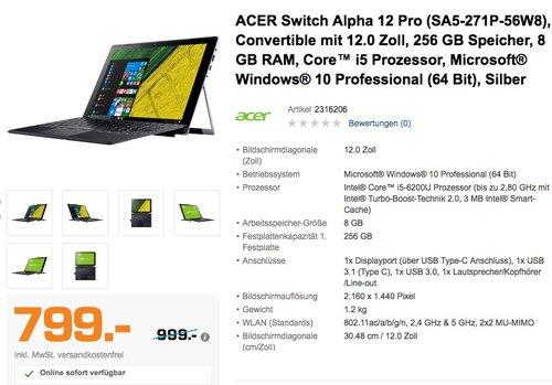 ACER Switch Alpha 12 Pro (SA5-271P-56W8), Convertible mit 12.0 Zoll, 256 GB Speicher, 8 GB RAM, Core™ i5 Prozessor -6200U - jetzt 20% billiger