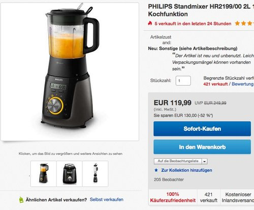 Philips HR2199/00 Hochleistungsmixer mit 32.000 U/min - jetzt 45% billiger