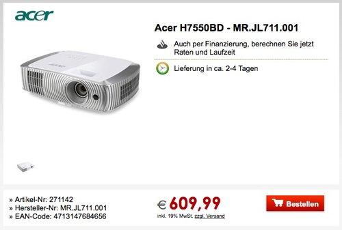 Acer H7550BD DLP Projektor (Full HD 1920 x 1080 Pixel, 3.000 ANSI Lumen, Kontrast 16.000:1, 3D) - jetzt 7% billiger