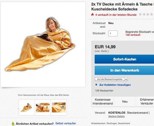 2x TV Decke mit Ärmeln & Tasche Doppelpack | Ärmeldecke | Kuscheldecke Sofadecke - jetzt 29% billiger