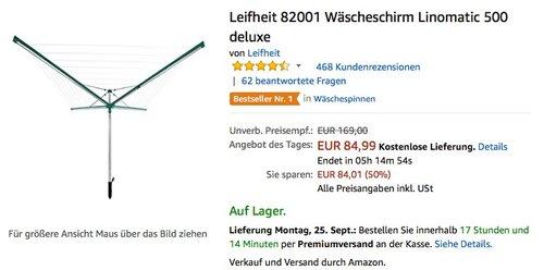 Leifheit 82001 Wäscheschirm Linomatic 500 deluxe - jetzt 17% billiger