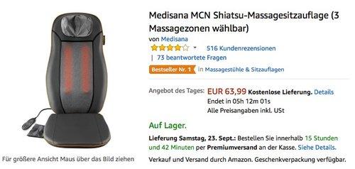 Medisana MCN Shiatsu-Massagesitzauflage (3 Massagezonen wählbar) - jetzt 20% billiger