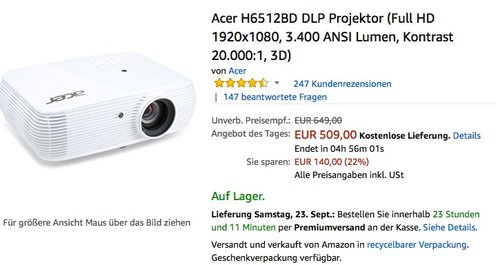 Acer H6512BD DLP Projektor (Full HD 1920x1080, 3.400 ANSI Lumen, Kontrast 20.000:1, 3D) - jetzt 16% billiger