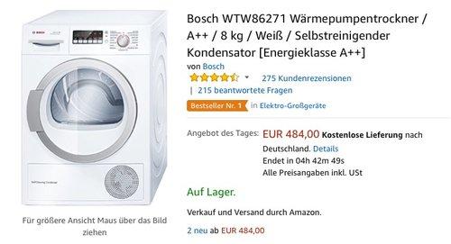 Bosch WTW86271 Wärmepumpentrockner - jetzt 6% billiger