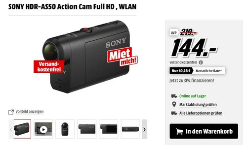SONY HDR-AS50 Action Cam Full HD - jetzt 19% billiger