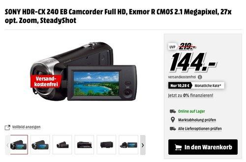 SONY HDR-CX 240 EB Camcorder Full HD - jetzt 18% billiger