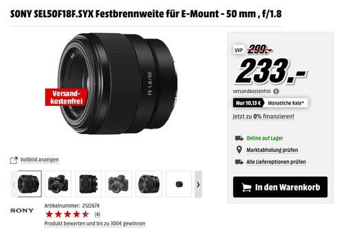 SONY SEL50F18F.SYX Festbrennweite für E-Mount - 50 mm , f/1.8 - jetzt 13% billiger