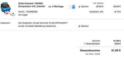 Güde Kompressor AIRPOWER 190/08/6 - jetzt 19% billiger