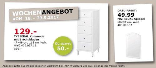 IKEA TYSSEDAL Kommode mit 5 Schubladen, 47x49 cm, 118 cm hoch - jetzt 28% billiger