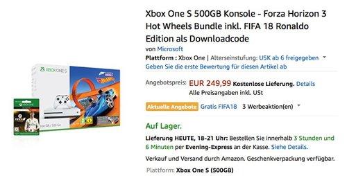 Xbox One S 500GB Konsole - Forza Horizon 3 Hot Wheels Bundle inkl. FIFA 18 Ronaldo Edition als Downloadcode - jetzt 13% billiger