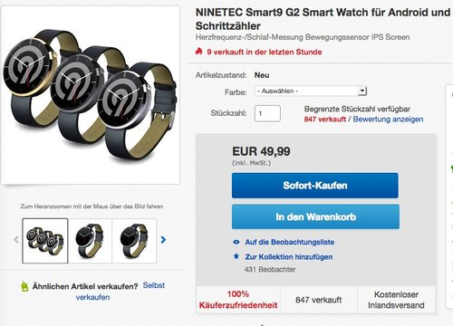 NINETEC Smart9 G2 Smart Watch für Android & Apple iOS - jetzt 41% billiger