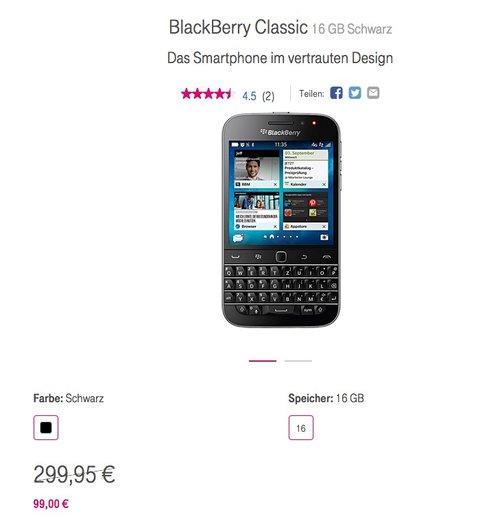 BlackBerry Classic Smartphone (3,5 Zoll (8,9 cm) Touch-Display, 16 GB Speicher) schwarz - jetzt 17% billiger