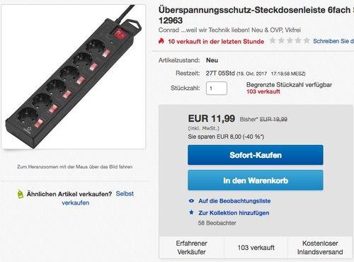 Renkforce Überspannungsschutz-Steckdosenleiste 6fach  - jetzt 36% billiger