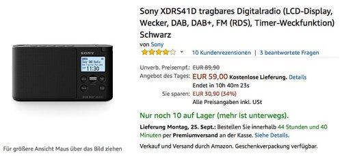 Sony XDRS41D tragbares Digitalradio Schwarz - jetzt 26% billiger