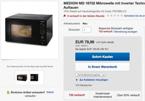 MEDION MD 16752 Inverter Mikrowelle mit Grill und Touchfeld, 25 Liter Garraum - jetzt 10% billiger