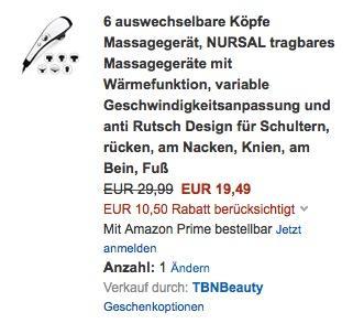 6 auswechselbare Köpfe Massagegerät, NURSAL tragbares Massagegeräte mit Wärmefunktion - jetzt 35% billiger