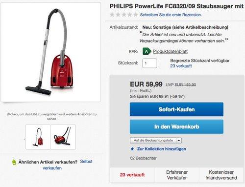 Philips PowerLife FC8320/09 Staubsauger - jetzt 42% billiger