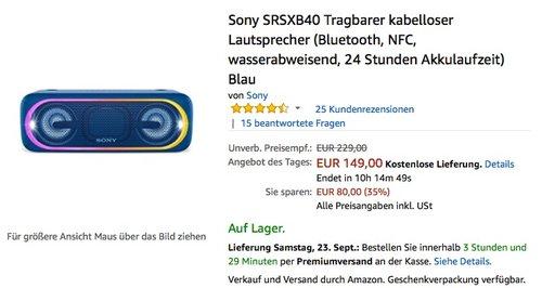 Sony SRSXB40 Tragbarer kabelloser Lautsprecher - jetzt 19% billiger