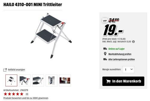 Hailo 4310-201 Trittleiter, zusammenklappbar, Mini - jetzt 30% billiger