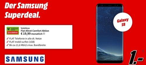 SAMSUNG Galaxy S8 inkl. Flat Allnet Comfort Aktion (1GB, 19,99€ monatlich) - jetzt 97% billiger