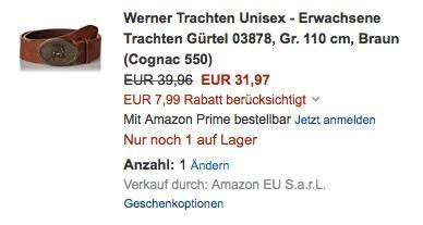 Werner Trachten Unisex - Erwachsene Trachten Gürtel 03878 - jetzt 20% billiger