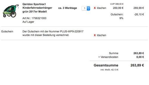 Qeridoo Sportrex 1 Fahrradanhänger 2017 - 1 Kind, Farbvariante:grün - jetzt 22% billiger